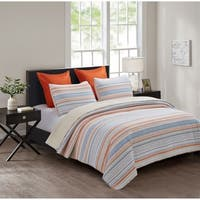 Garrison Textured Stripe Reversible 3 Piece Quilt Set