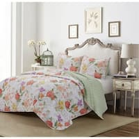 Peony Sketched Floral Reversible 3 Piece Quilt Set