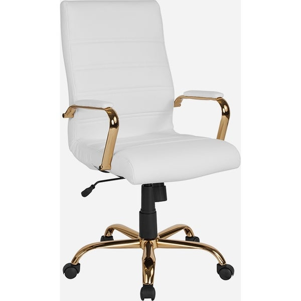 Galaxy High Back Horizontal Stitching White Leather Executive Adjustable Swivel Office Chair with Gold Frame