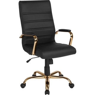 Galaxy High Back Horizontal Stitching Black Leather Executive Adjustable Swivel Office Chair with Gold Frame
