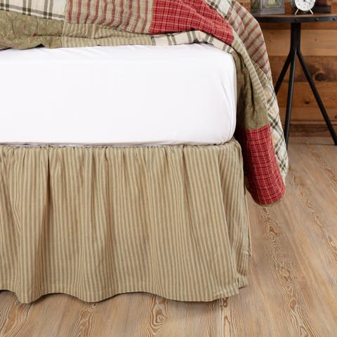 Tan Farmhouse Bedding VHC Prairie Winds Ticking Stripe Bed Skirt Cotton Striped Gathered