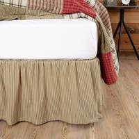 VHC Prairie Winds Khaki Tan Farmhouse Classic Country Bedding Ticking Stripe Bed Skirt