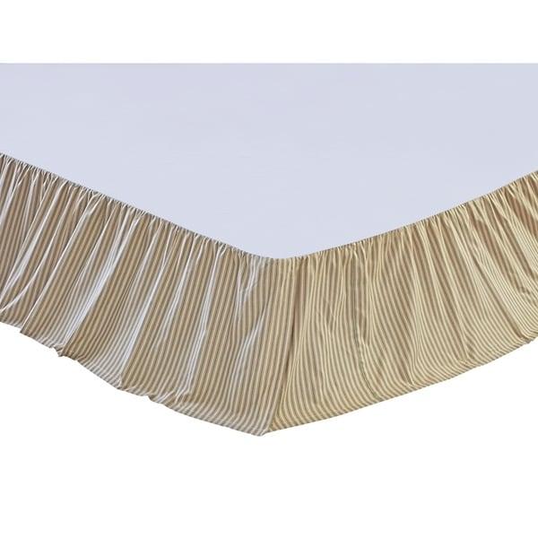 VHC Prairie Winds Khaki Tan Farmhouse Classic Country Bedding Ticking Stripe Bed Skirt