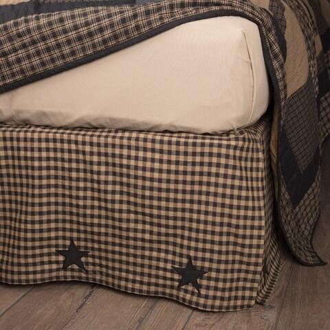 VHC Black Check Star Raven Primitive Country Bedding Bed Skirt