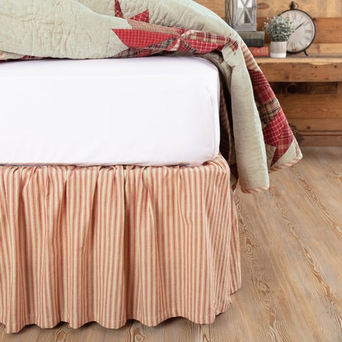 VHC Ozark Parchment White Farmhouse Classic Country Bedding Ticking Stripe Bed Skirt