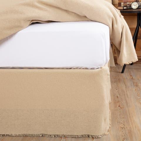 Farmhouse Bedding VHC Burlap Natural Bed Skirt Cotton Solid Color Distressed Appearance Cotton Burlap