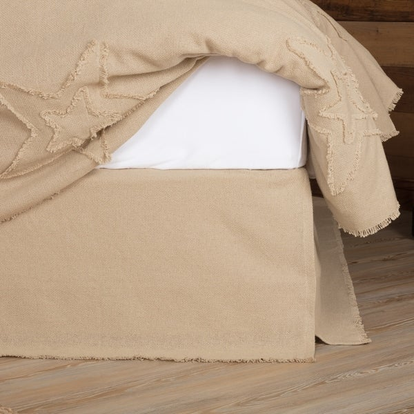 VHC Burlap Vintage Tan Farmhouse French Country Bedding Fringed Solid Color Bed Skirt