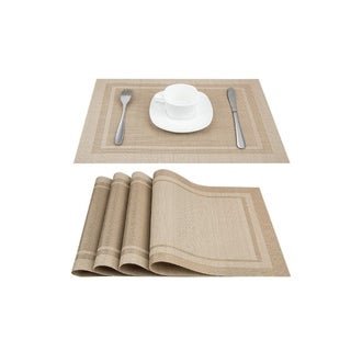"""PVC Woven Heat and Stain Reistant Place Mats Set of 4 Black and Gold 18"""" x 12"""""""