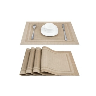 """PVC Woven Heat and Stain Reistant Place Mats Set of 4 Beige 18"""" x 12"""""""
