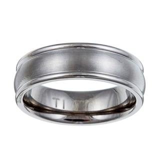 Titanium Men's Brushed Domed Band (7 mm) (Option: 15)
