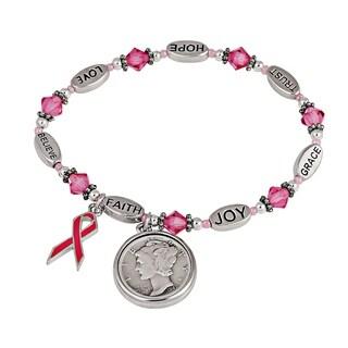 Silver Mercury Dime Pink Ribbon Charm Coin Bracelet
