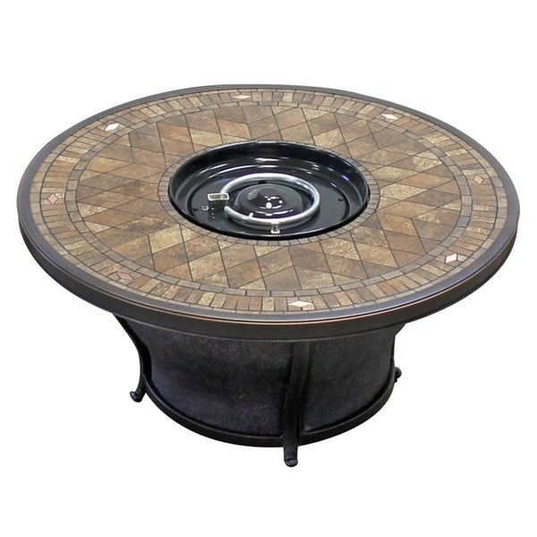 Balmoral - 48 Inch Round Porcelain Top Gas Fire Pit Table