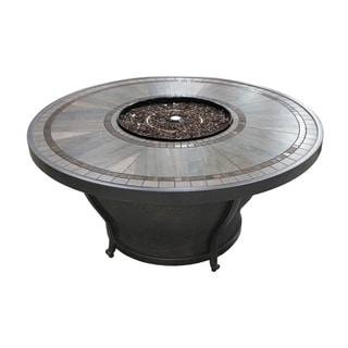 Huntington - 48 Inch Round Porcelain Top Gas Fire Pit Table