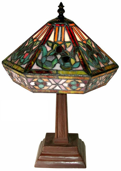 Tiffany-style Mission Table Lamp, Green (Bronze)