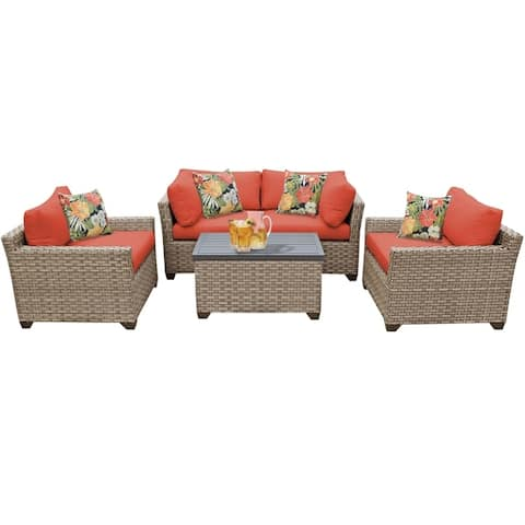 Monterey 5 Piece Outdoor Wicker Patio Furniture Set 05b