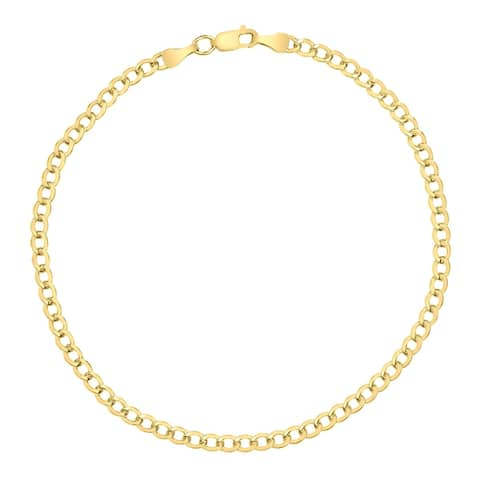 14K Yellow Gold Filled 3.3MM Curb Link Bracelet with Lobster Clasp