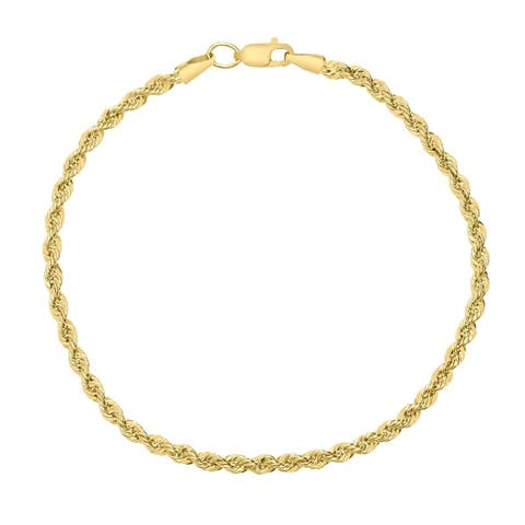 14K Yellow Gold Filled 3.3MM Rope Chain Bracelet with Lobster Clasp