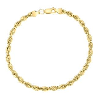 14K Yellow Gold Filled 4.5MM Rope Chain Bracelet with Lobster Clasp