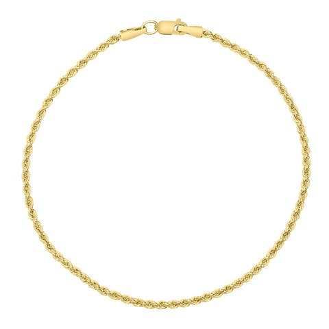14K Yellow Gold Filled 2.1MM Rope Chain Bracelet with Lobster Clasp