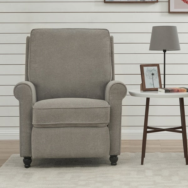 ProLounger Grey Chenille Push Back Recliner Chair