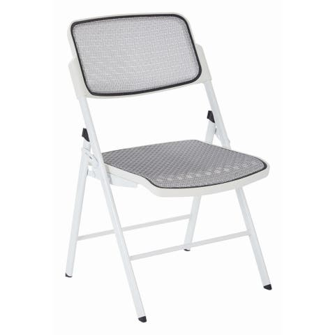 Deluxe Mesh Seat and Back Folding Chair with White Finish Frame (Set of 2)