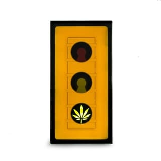 'Leaf Traffic Light' Metal Lighted Vintage-style Wall Sign