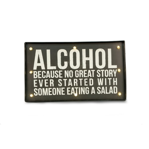 'Alcohol' Lighted Metal Sign