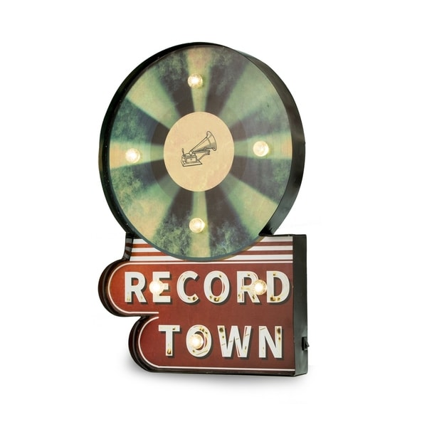 'Record Town' Lighted Sign