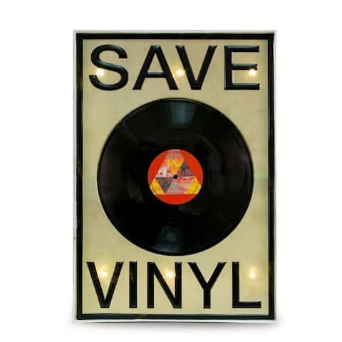 Lighted 'Save Vinyl' Sign