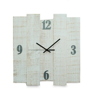 "White Distreesed Wood Wall Clock, 16""x17"""