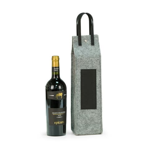 Wine Caddy - Grey Felt/Black Triming