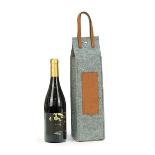 Wine Caddy - Grey Felt/Brown Triming