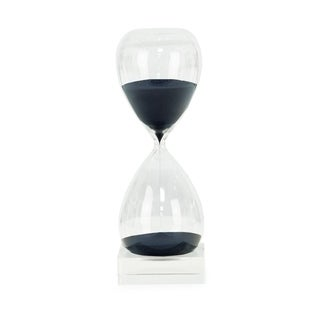 Clear Glass Navy Sand Crystal Base 60-minute Hourglass Timer