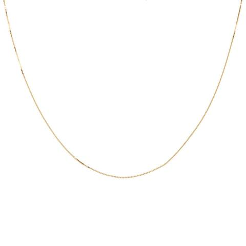 14k Yellow Gold Box Chain Necklace (14-24 Inch)