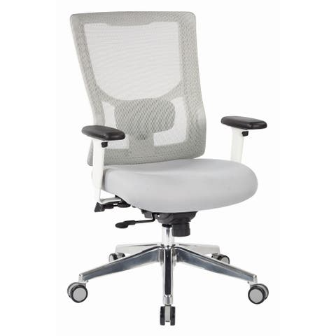 Pro Line White Mesh High-Back Office Chair with Seat Slider and Adjustable Arms