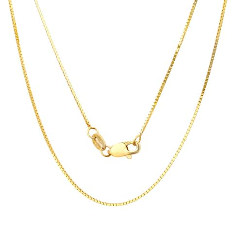 14k Yellow Gold .75 mm Box Chain Necklace (16-30 Inch)