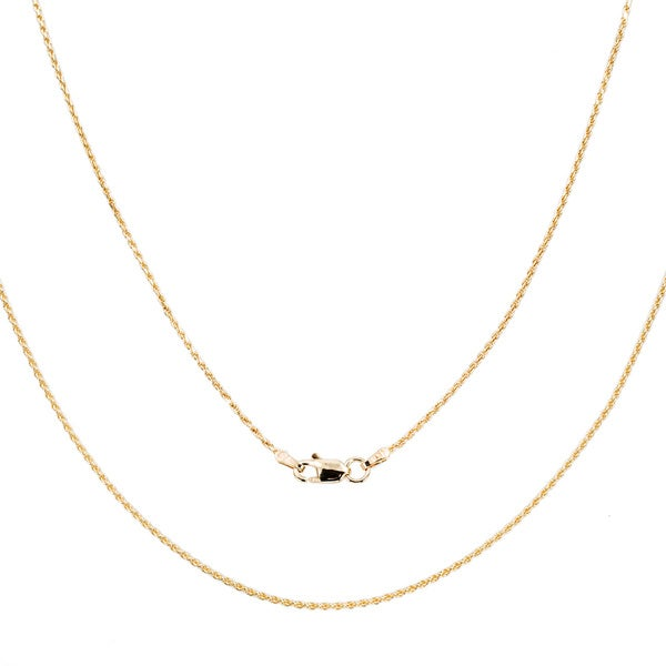 Sterling Essentials 14k Yellow Gold Diamond-Cut Rope Chain Necklace