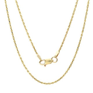 14k Yellow Gold Diamond-Cut Rope Chain Necklace