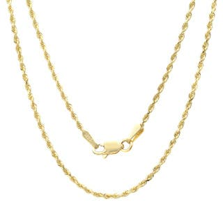Gold chains necklaces for less overstock sterling essentials 14k yellow gold 15mm rope chain necklace mozeypictures Images
