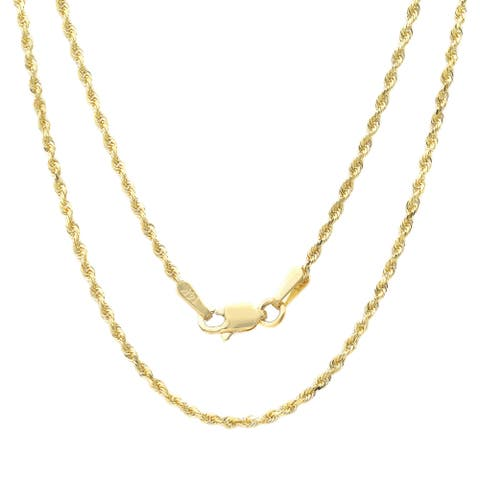 14k Yellow Gold 1.5 mm Rope Chain Necklace ( 16-30 Inch )