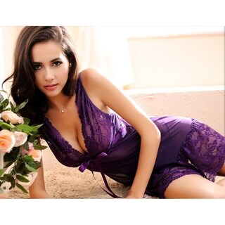 Acappella Sexy Sleepwear with Full Slips Mesh Floral Lace Satin Bow