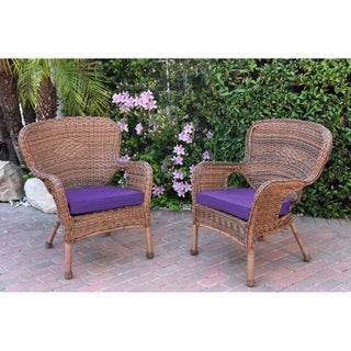Set of 2 Windsor Honey Resin Wicker Chair with Cushion