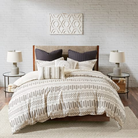The Curated Nomad Natoma Ivory/ Charcoal Cotton Jacquard 3-piece Comforter Set