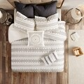 The Curated Nomad Natoma Ivory/ Charcoal Cotton Jacquard 3-piece Duvet Cover Set