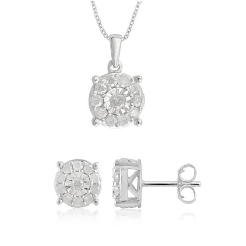 Divina Sterling Silver 1.00ct TDW Diamond Earrings and Pendant 2-Piece Jewelry Sets