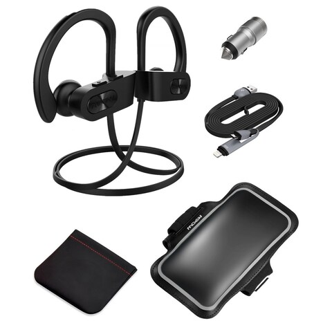 Mpow Bluetooth V4.1 Wireless Sport Headphones kit (Armband, Car Charger, 2-in-1 Charging Cable, Carrying Pouch)