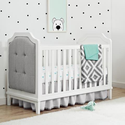 Avenue Greene Crescent White 3-in-1 Upholstered Crib