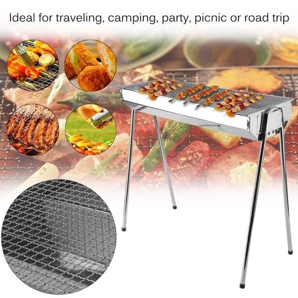 ff199c8c9bd Stainless Steel Foldable Barbecue Charcoal Grill Outdoor Portable BBQ Stove