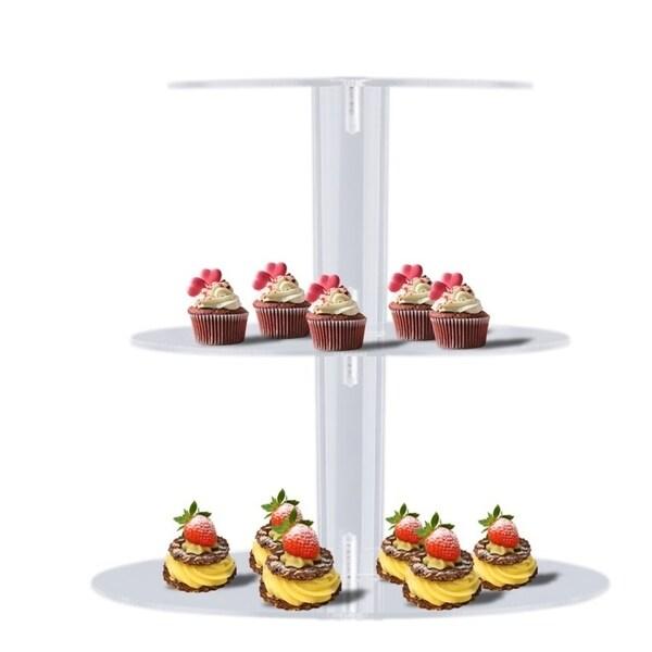 3 Tier Acrylic Round Cupcake Rack Wedding Party Birthday Cake Stand Display