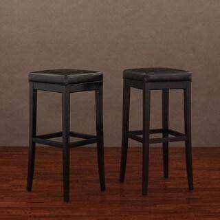 Kari Dark Brown Leather Bar Stools (Set of 2)